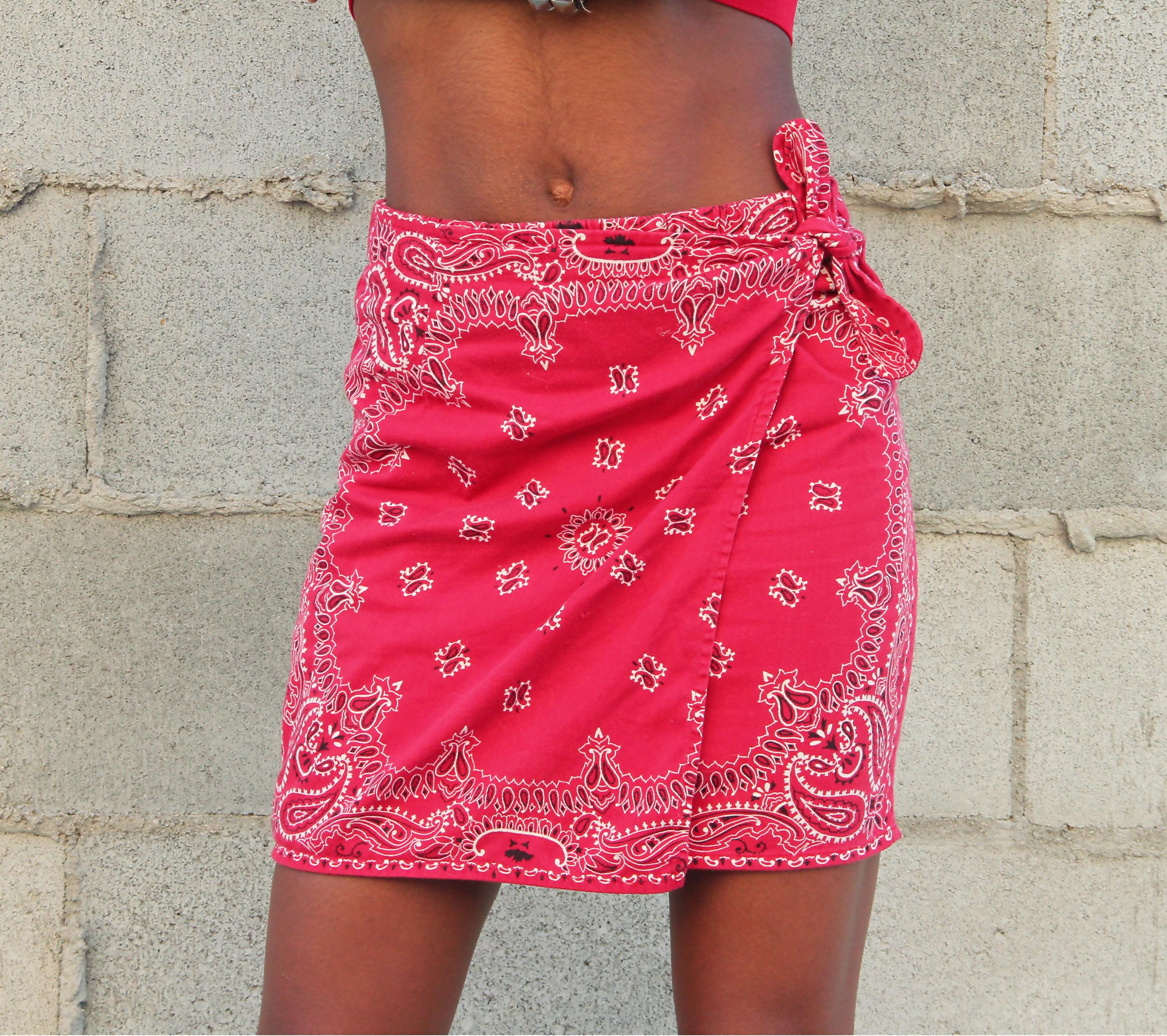 Blood Red Bandana Skirt - Imagez co
